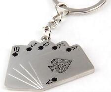 1pcs Metal Black Playing CARDS Key chain charms pendant