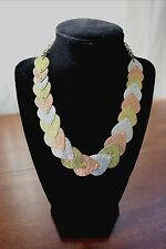"""VTG Tri Color NECKLACE Tear Drop Hammered SILVER GOLD COPPER Chain Clasp 19"""""""