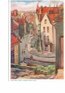 VINTAGE ART postcard:  MAIN STREET ROBIN HOOD'S BAY by HAROLD TODD