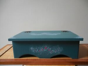 American Country Craft Style Wooden Chest, Storage Box, Fern Green w Pink Flower