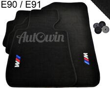 BMW 3 Series E90/E91 E90LCI/E91LCI Black Floor Mats With M Emblem Clip 2005-2012
