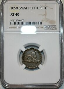 NGC XF-40 1858 Small Letters Flying Eagle Cent, Solid Specimen.