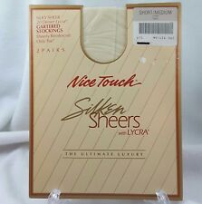 2 pair Gartered Stockings-Nice Touch Silken Sheers with Lycra Short/Medium Ivory