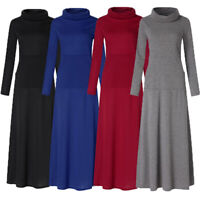 UK Women Turtle Neck Long Sleeve Casual Loose Jumper Dress Maxi Dress Plus Size