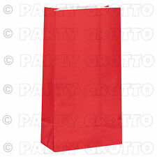 10 12 Paper Party Bags Plain Solid Colour Sweet Treat Bag Favor Gift Loot Red