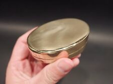 Vintage Antique Style Brass Tobacco Snuff or Pill Box Ring Container Box