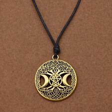 Vintage Triple Moon Pentagram Magic Pendant Goddess Tree Of Life Necklace