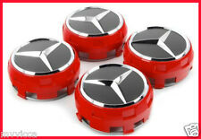 4x MERCEDES BENZ RED AMG WHEEL CENTRE CAPS HUB 75mm A B C D S SLK A45 CLK CLA GL
