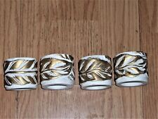 NEW Set of 4... White Resin with Gold Leaf napkin rings
