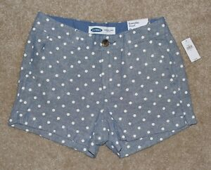 New Womens Old Navy Everyday Shorts 0 Blue White Polka Dot Linen Blend