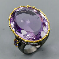 Free ship! Amethyst Ring Silver 925 Sterling Vintage SET38ct+ Size 8.5 /R130358