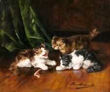 Alfred Brunel-Neuville tableau chat chatons Nature morte animaux