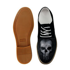 Black Skull Casual Shoes Mens Oxford Lace Up Loafers Soft Fiber Special Brogue
