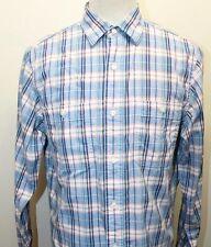 Nautica Men Long Sleeve Shirt Blue Pink Plaid Small 100% Cotton