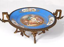 Coupe porcelaine Sèvres femme enfants fleurs bronze doré Napoléon III XIXè