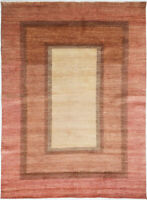 6X9 Hand-Knotted Gabbeh Carpet Tribal Ivory Fine Wool Area Rug D34016