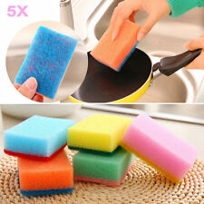 5pcs Candy Colors Washing Dish Cloth Wipe Brush Sponge Scouring Kitchen Tools
