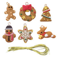 6Pcs Gingerbread Man Ornament Deer Snowman Pendant Christmas Tree Decoration UK