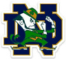 Notre Dame Fighting Irish Leprechaun with signature ND Letters Type Magnet