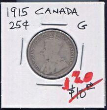 CANADA - HISTORICAL RARE GEORGE V SILVER 25 CENTS, 1915 KM# 24