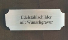 TÜRSCHILD aus Edelstahl V2A- 85x30mm rechteckig selbstklebend - mit WUNSCHGRAVUR