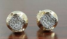 10K Yellow Gold Over Diamond Studs Concave Kite Pave Mens Ladies Earrings 0.39Ct