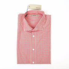 Boglioli NWT Red White Gingham Check Slim Fit Cotton Dress Sport Shirt 15 1/2 39