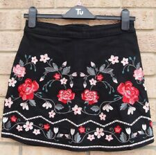 G21 BLACK DENIM JEANS FLORAL EMBROIDERED A LINE BODYCON TUBE MINI SKIRT 8 S