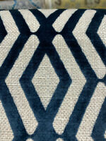 Fulcrum Navy Blue Diamond Flock Upholstery Fabric By The Yard
