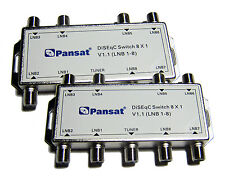 LOT of 2 pcs PANSAT 8x1 DiSEqC V1.1 8X1 Multi Switch FTA Cascadable 8 Sats 8 x 1