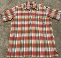 Patagonia Crinkle Plaid Shirt Button Front Organic Cotton Short Sleeve Men's XL