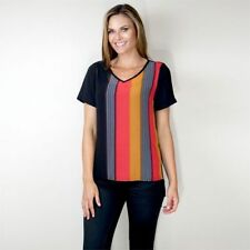 Polyester Career Hand-wash Only Striped Tops & Blouses for Women