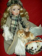 "Beautiful 23"", Ltd. Ed. bisque doll, ""Polly & Puppies"" Heirloom Duck House Doll"