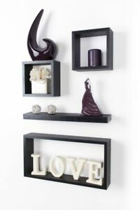 Floating Wall Cube Shelves Set of 4 Matt Black Hanging Storage Display Shelving