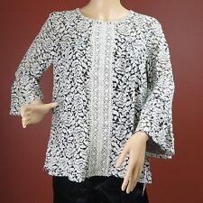 Women's White Floral Lace Long Sleeve Blouse Top John Paul Richard Size M New