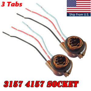 2x 3157 4157 Socket Turn Signal DRL Rear Brake Light Wiring Harness Connector