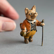 More details for cold painted bronze miniature anthropomorphic pig farmer off to market piggy