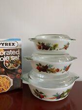 Vintage JAJ  Pyrex Set Tuscan Garden Casseroles With Box Mint Condition