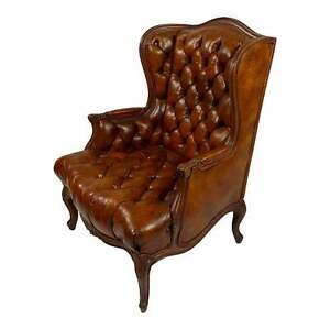 Chesterfield Tufted brown Leather Wing Armchair -Louis XV Style