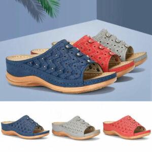 Women Sandals Slippers Summer Slip On Open Toe Casual Wedge Heels Seaside Slides