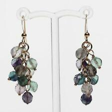 18K Gold Semi-Precious Purple & Green Fluorite Natural Stone Cluster Earrings