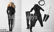 1/6 scale Black Widow Leather Jumpsuit Catwoman Female Clothes Bodysuit