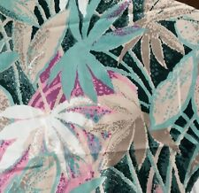 "David & Dash Bermuda 2 Yds X 56"" Decorator Fabric Teal Pink Tan Tropical Floral"
