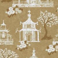 Wallpaper Designer White Beige Metallic Gold Asian Pagoda Birdhouse on Gold faux