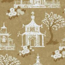 Wallpaper Designer White Beige Metallic Gold Asian Pagoda Birdhouse on Gold faux