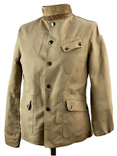 Ralph Lauren Tan Jacket Leather Collar Accent Flannel Lining Equestrian Style Sm