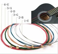 6 Rainbow Colorful #E Color Strings Set For Acoustic Guitar Accessories 1M Hot
