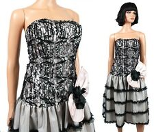 80s Tulle Prom Dress Jrs XS 1 Vintage Black Pink Gray Sequins Strapless Gown