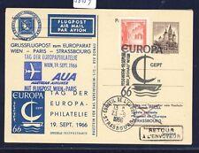 56139) AUA So-LP Wien - Paris 19.9.66, Zudruck GA, CEPT