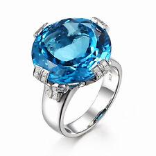 Solid 14K White Gold Natural Blue Big Topaz VS Diamond Engagement Wedding Ring